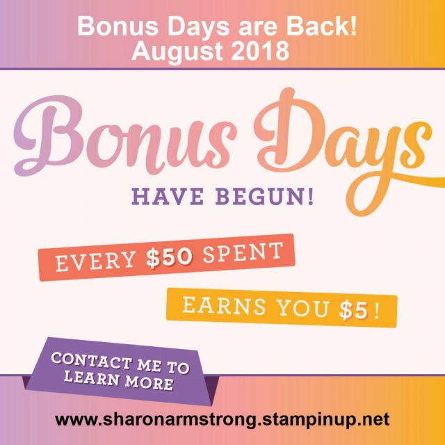 Stampin up Bonus Days Sharon Armstrong TxStampin