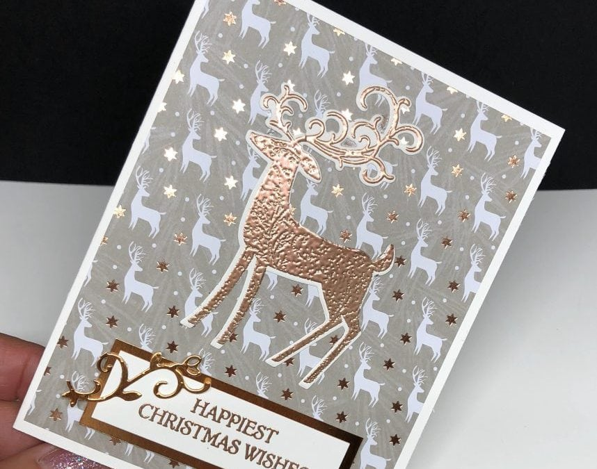 Easy Copper Embossed Christmas Card: Dashing Deer Bundle