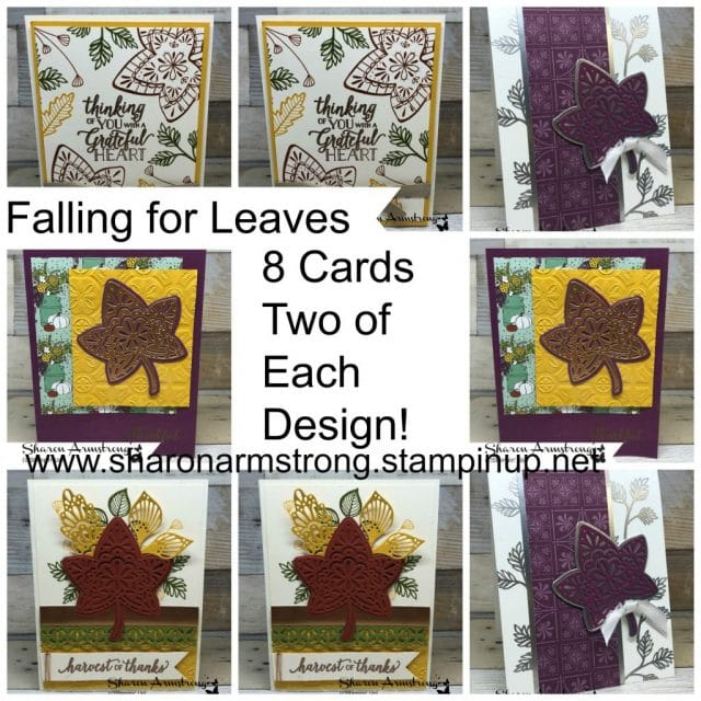 Falling For Leaves Online Card Class: If you love fall then you'll have fun with my Falling for Leaves Online card Class. This card kit (Includes 8 cards/4 designs) is free with $40 purchase. #cardmaking #greetingcards #stampinupcards #cardmakingkit #sharonarmstrong #txstampin