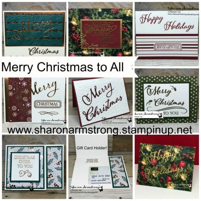 Merry Christmas To All Online Card Class with Sharon Armstrong, TxStampin. #cardmaking #cardmakingkits #cardmakingclass #sharonarmstrong #txstampin