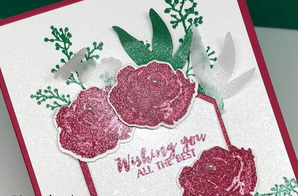 New Floral Greeting Card With Shimmer Paint