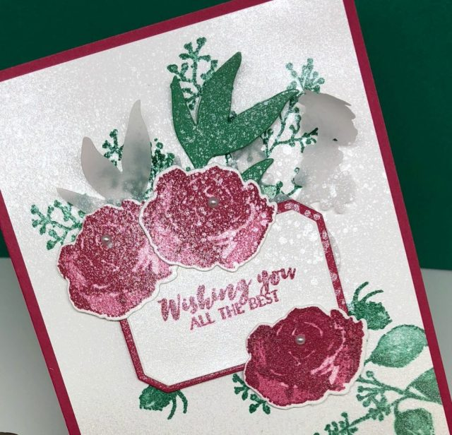 Video Tutorial for a fun new floral greeting card with shimmer paint to share today. The First Frost bundle is so elegant! This handmade card can be used for several occasions, not just Christmas! Come watch the tutorial by Sharon Armstrong, TxStampin Sharon