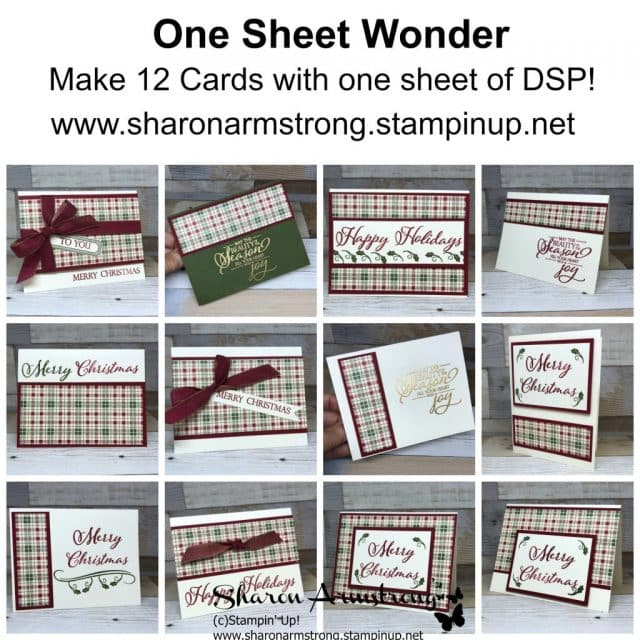 Video Tutorial for a One Sheet Wonder card template that makes 12 greeting cards. These make great card design ideas for Christmas cards or All Occasion Cards. Step by step instruction by Sharon Armstrong, TxStampin #cardmaking #greetingcards #stampinupcards #sharonarmstrong #txstampin #christmascards