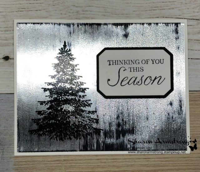 Black Ice Technique for Greeting Card or Paper Crafting project! Sharon Armstrong, TxStampin Sharon has a video tutorial showing you how to make this beautiful Christmas Card. #christmascards #greetingcards #cardmaking #stampinupcards #sharonarmstrong #txstampinsharon #txstampin