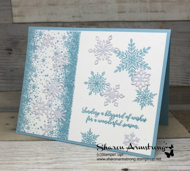Holiday Cards: Snow is Glistening | Stamparatus. Learn cardmaking tips and tricks in this video tutorial along with lots of instructions how to use the Stamparatus- Sharon Armstrong- www.txstampin.com-Look for the November 6, 2018 post. #christmascards #cardmaking #greetingcards #stampinupcards #sharonarmstrong #txstampin #txstampinsharon