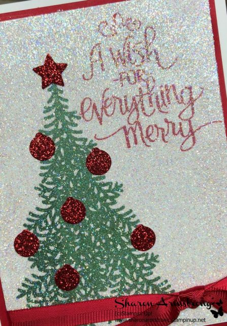 No Shed Glitter on Christmas Greeting Card Video tutorial-www.txstampin.com-Sharon Armstrong. Follow this step by step video for great card making ideas. Lots of other handmade cards and tutorials here as well. #christmascards #greetingcards #cardmaking #sharonarmstrong #txstampin #txstampinsharon