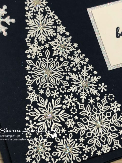 Christmas Card Designs that Sparkle: Snow is Glistening- Learn fun cardmaking design ideas and get those handmade Christmas cards done and off your checklist early this year. Blog has lots of greeting card tutorials and videos-Sharon Armstrong- www.txstampin.com- November 8, 2018 post. #christmascards #cardmaking #greetingcards #stampinupcards #sharonarmstrong #txstampin #txstampinsharon