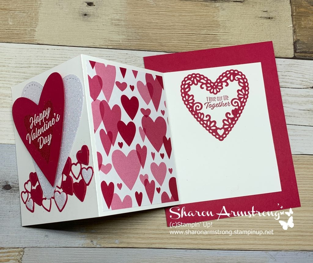 exciting and easy fun fold valentine card  tx stampin' sharon