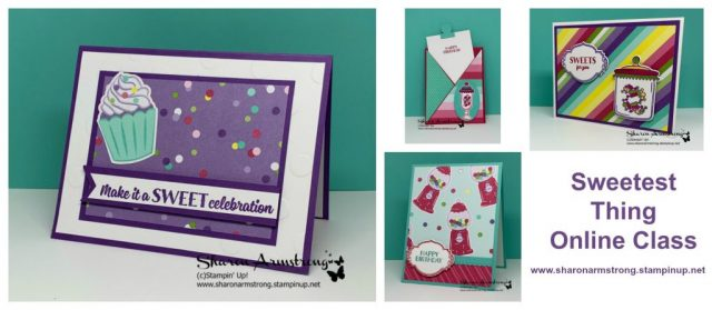 Handmade-Cards-with-Sweet-Treats-Cupcakes-on-Purple-Background-and-Candy-Jars