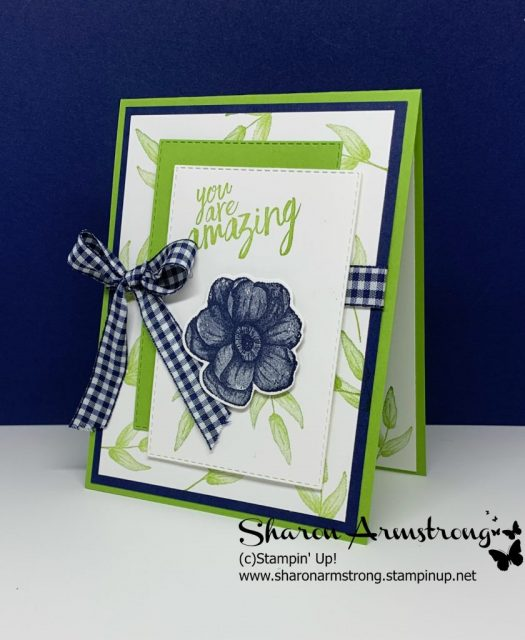 Blue-Gingham-Ribbon-on-Friendship-Card-with-Colorful-Layers