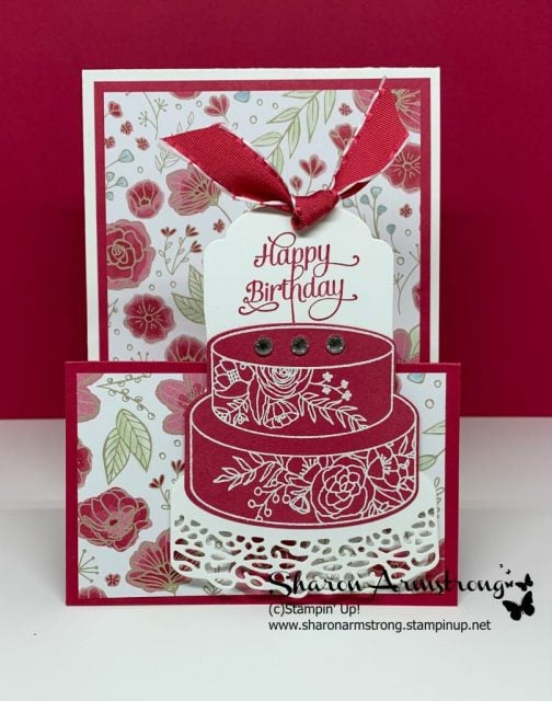 Birthday-Easel-Card-by-Sharon-Armstrong-with-Cake-on-Background-of-Floral-Paper