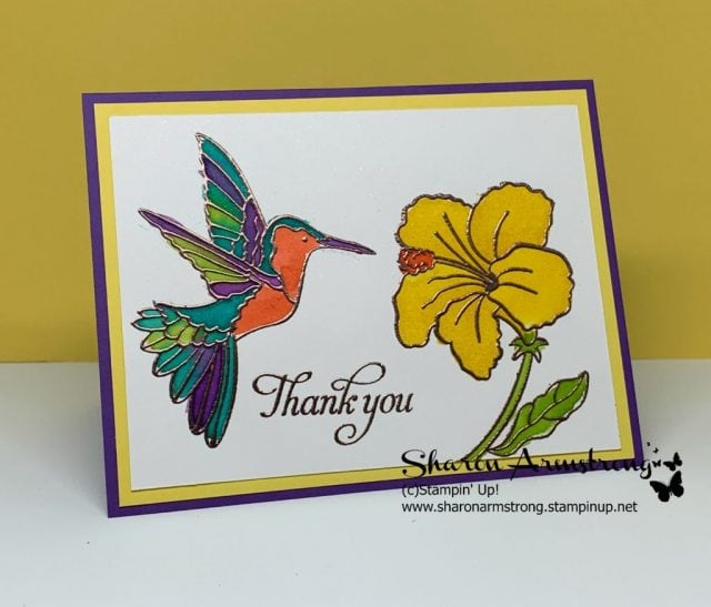 Thank-You-Card-Handmade-with-Watercolor-Hummingbird-and-Flower