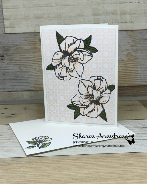 Card-Kit-Sample-Handmade-Card-Magnolia-Stamped-on-Pink-Patterned-Paper