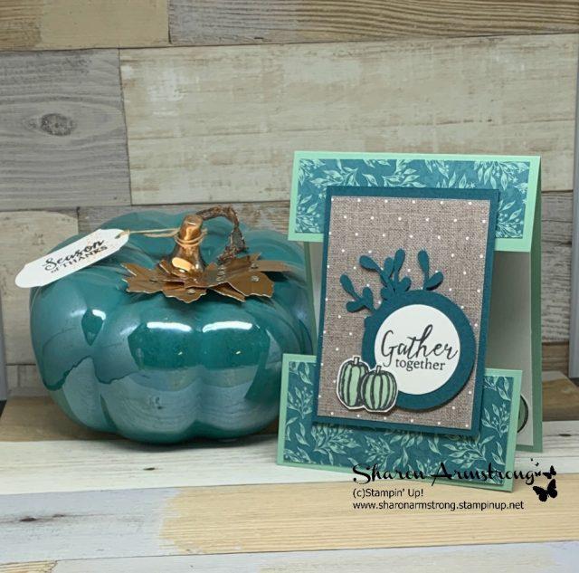 Fall-Card-Handmade-with-Teal-Pumpkins-on-Khaki-Background