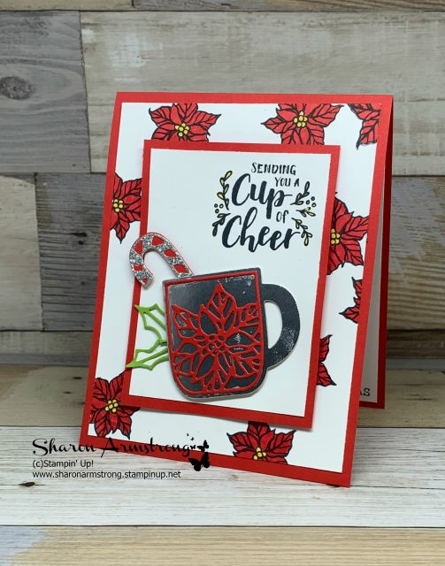 2-Christmas-Cards-Handmade-Cup-of-Cheer-with-Red-Poinsettia