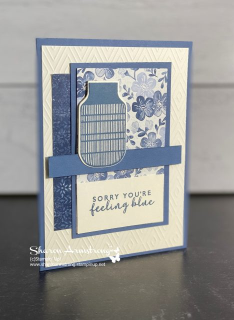 simple card layout for a handmade greeting card in various shades of blue